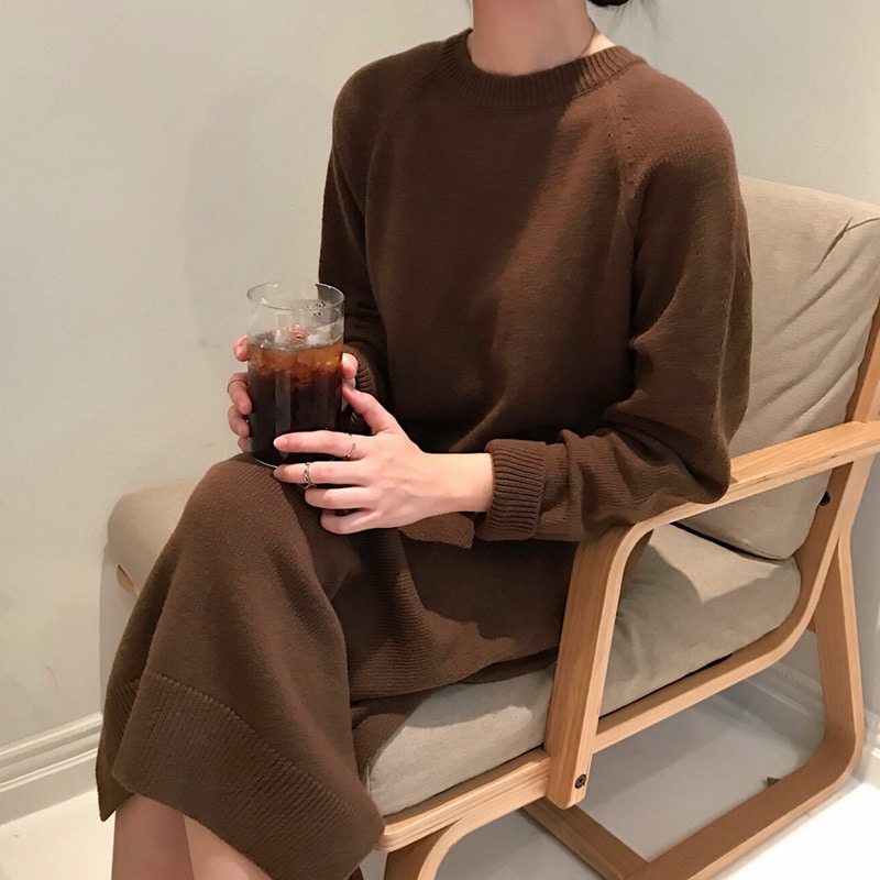 wool knit one-piece (brown)