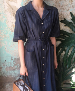 stripe robe cotton one-piece (navy)