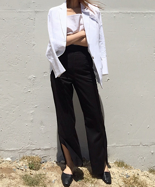 high waist slit slacks