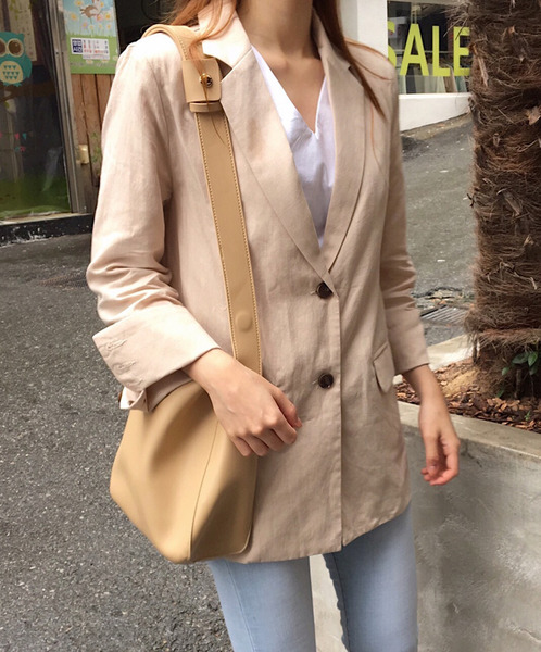 linen button jacket