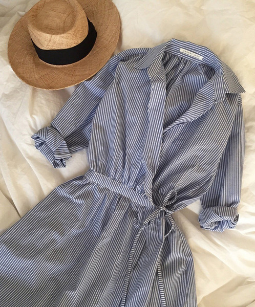 stripe lap one-piece